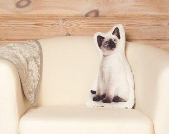 Siamese Cat. Decorative pillow, cat lover gift, cat cushion, cat pillow, throw pillow, siamese pillow, animal pillow, cat decor, cat gifts
