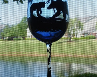 1 Hand painted bear and cub wine glass