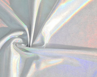 Solid White Flashbulb Holographic Liquid Rainbow Spandex Fabric Unicorn Magical Prism Hologram Festival Opal Rave Iridescent (By the Yard)