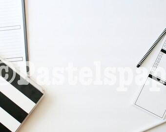 Monochrome Black White Styled Stock Photo Desktop Flat Lay