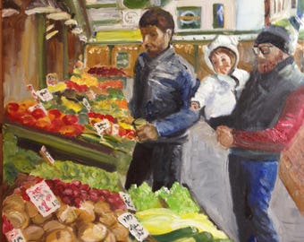 Original Painting.  OOAK.  Pike Place Farmers Market