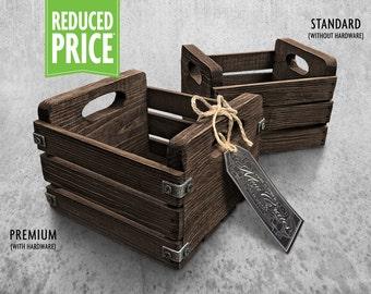 Rustic Mini Crate - Dark Walnut