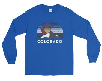 Colorado Flag Mountain Top Long Sleeve T-Shirt