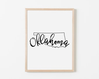 Oklahoma Nursery Art. Nursery Wall Art. Nursery Prints. Oklahoma Wall Art. State Wall Art. Oklahoma Nursery.