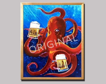 Octopus Painting, Red Octopus Drinking Beer, Animals and Beer, Octopus Art, Dining Room Painting, Funny Beer Poster, Man Cave Bar Beer Decor