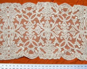 """Vintage filet lace runner 47"""" x 17"""""""