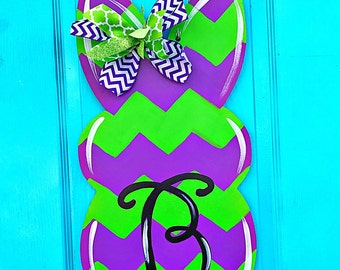 Easter Door Hanger - Personalized Door Hanger - Easter Decor - Easter Decorations - Bunny Door Hanger - Monogram Easter Door Hanger,