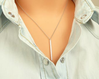 Silver Bar Necklace, Thin Bar Necklace, Gold Bar  Necklace, Dainty Minimalist Necklace, 925 Silver Necklace