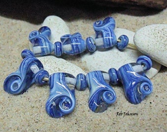 Waves, Artisan Lampwork Glass Beads, SRA, UK