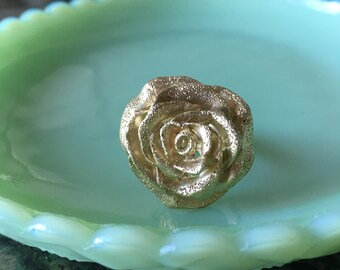 Vintage Gold Plated Flower Ring, Jacmel Mauritius, Sterling Silver, Vermeil, Made in Italy, 925, JCM, Size 7