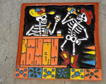 Talavera Mexican Tile Mosaic Day of the Dead / Canteendrunk