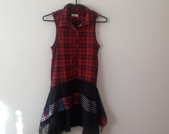 Plaid Flannel Tunic Upcycled Clothing Refashioned Punk Grunge Goth Shabby Lagenlook Repurposed Sleeveless Top. Women's Size Xs to Small.