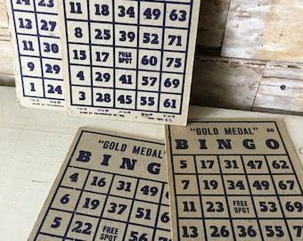 Vintage Bingo Cards Blue Set of 5 Larger Cards