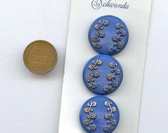 "1950s glass buttons Set (3) Royal BLUE glass buttons gold luster flowers New Old Stock Original Vintage 7/8"" size 2815 MORE AVAILABLE"