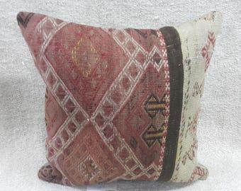 "Kilim Pillow, 18""18"" İnches, Vintage, Kilim, Pillow Cover, Throw Pillow, Tribal Pillow, Turkish Kilim Pillow, Cushion Cover, Throw Pillow"
