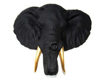 Elephant Head Wall Mount - Black Elephant Head Wall Mount with Gold Tusks Wall Mount - Faux Taxidermy EL1708