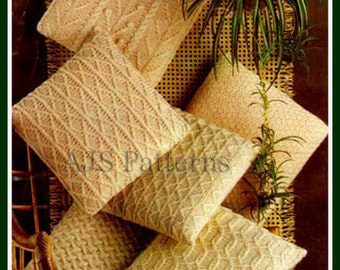 PDF Knitting Pattern For 6 Assorted Designs of Cottage Chic Aran Cushions