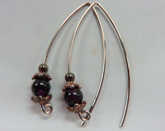 Garnet Earrings - SALE - Garnet & Sterling Silver Dangle Earrings - Gemstone Dangle Earrings