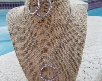 3pc vintage pink rhinestone set, hoop earrings, necklace, and bracelet from the 90's