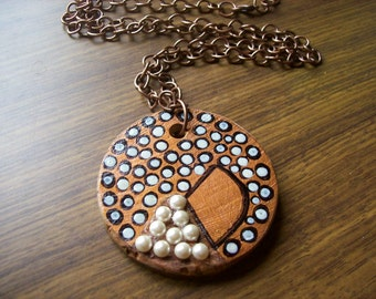 Recycled cypress pine pendant.Cream pearls.'Copper Mademoiselle'