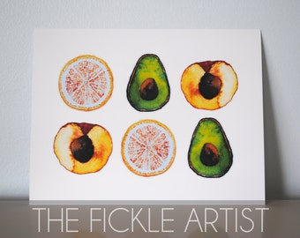 Watercolor Fruits Print
