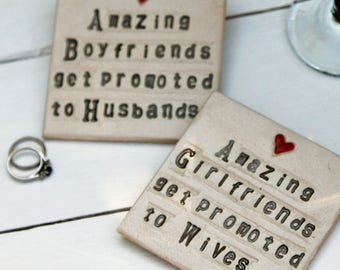 Girlfriend to Wife Ceramic Coaster