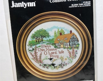 """Janlynn counted cross stitch kit #138-02 """"Bless This House"""" 10"""" dia. Vintage 1992"""