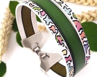 3 leather bracelet green bands and pastel colors