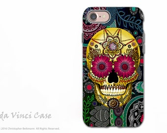 Paisley Sugar Skull iPhone 7 / 8 Tough Case - Dia De Los Muertos Dual Layer Case for Apple iPhone 7 - Sugar Skull Paisley Garden