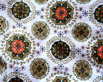 Vintage 1960s Mod Fabric by the Yard, Cotton Broadcloth, Gold, Orange, Green Flowers, Medallions, and Stars on White Background
