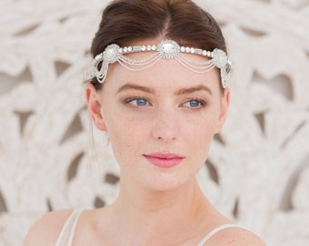 Wedding headband, Bridal accessories, Deco wedding headband, Deco headband, 1920s headband, Twenties Wedding headbands, Deco head band