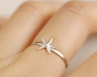 tiny starfish ring . silver starfish ring . stackable starfish ring . starfish stacking ring . star fish ring . beach jewelry