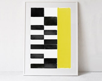 Geometric Wall Art Print, Abstract Print Large Wall Art, Abstract Printable, Abstract Art Yellow Wall Art, Modern Print DIGITAL DOWNLOAD Art