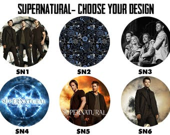 "SUPERNATURAL 2.25"" Button Style Pins, Mirrors, Magnets, Bottle Openers & Keychains"
