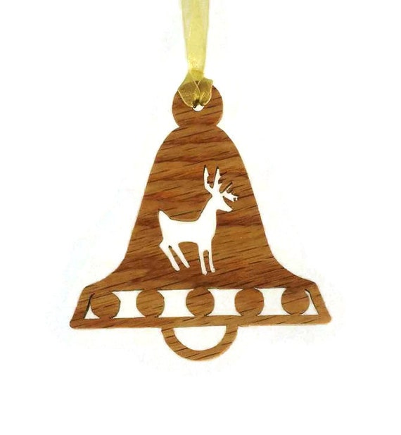 Reindeer Christmas Bell Ornament Handmade From Ash Wood Rudolph Christmas Decoration, Holiday Decor, Red Nose Reindeer, Dasher,  Dasher;