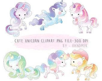 Cute Unicorn watercolor clipart Instant Download PNG file - 300 dpi.
