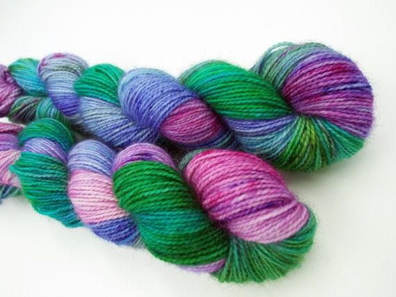 Hand Dyed Sock Yarn Superwash Wool Nylon 80/20 Fingering Weight Yarn Sock Yarn 50 Grams - Variegated Sock Yarn Green Pink Yarn - Wild Rumpus