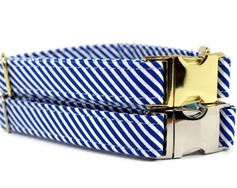 Boy Dog Collar | Blue and White Striped Dog Collar | Your choice of metal buckle or plastic buckle | Nautical Dog Collar | Unique Dog Collar