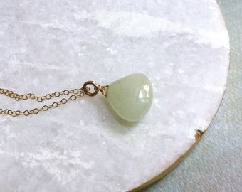 Gold Aquamarine Necklace - Green Blue Necklace - March Necklace - Smooth Aquamarine Necklace - Aquamarine Drop Necklace- Gold Chain Necklace