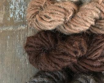 Four skeins alpaca fiber all natural color ombre Handspun mini skeins texture pack yarn 40 yards handspun lot set