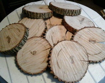 "10 Pc 5.5"" to 7""  Log Slices Wood Disk Rustic Wedding Centerpiece Coaster"