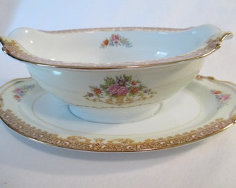 Vintage Noritake China Oval Gravy Boat with Attached Underplate, Thanksgiving, Christmas, Wedding, Shabby, Farmhouse, Cottage Chic, Gift
