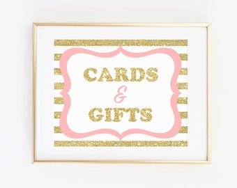 Baby Shower Cards and Gifts Sign, Cards and Gift Pink Gold Sign, Pink Gold Glitter Baby Shower Decorations, Baby Shower Girl, Favor Table