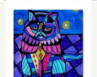 SALE NOW- Cat Art Tile Ceramic Coaster Print of painting by Heather Galler Gift