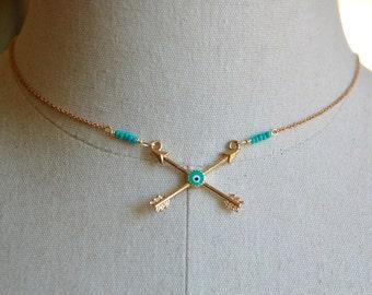 Arrow necklace,crossed bow arrow necklace,evil eye necklace arrow jewelry,tribal necklace,layering necklace,boho necklace