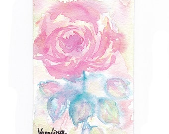 Watercolor aceo original, Aceo painting, Watercolor miniature painting, Floral aceo rose, Artist trading card, Aceo flower, Hand painted