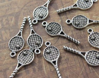 10 Tennis Rocket Charms Antiqued Silver Tone Double Sided 10 x 26 mm