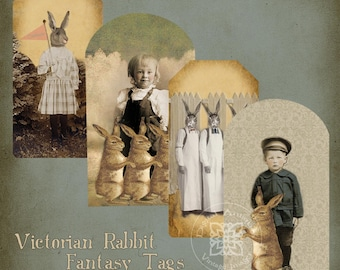 Victorian Rabbit Fantasy Tags Collage Sheet  Instant Digital Download
