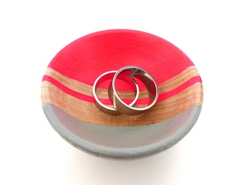 Neon pink and gray wood dish, jewelry dish, ring cup, mini jewelry holder