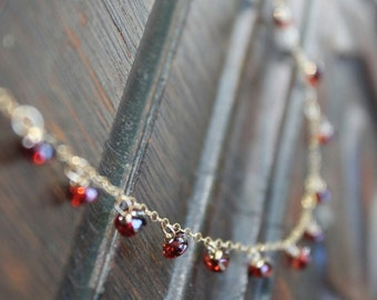 Pontevedra Dainty Dew Drop Garnet Birthstone Necklace on Gold Filled Chain - Feminine and Exotic - Or Customize for Your Wedding